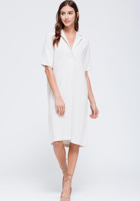 Linen Short Sleeve Shift Dress
