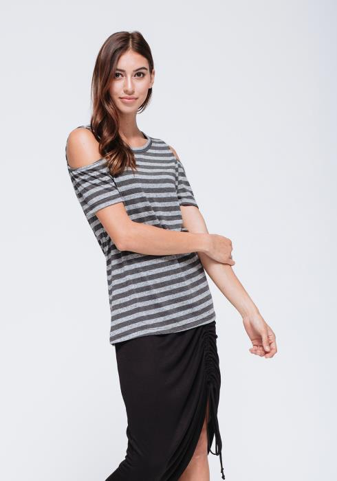 Cold Shoulder Crew Neckline Top