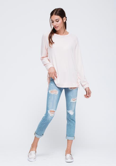 Ruffle Side Slit Sweater Top