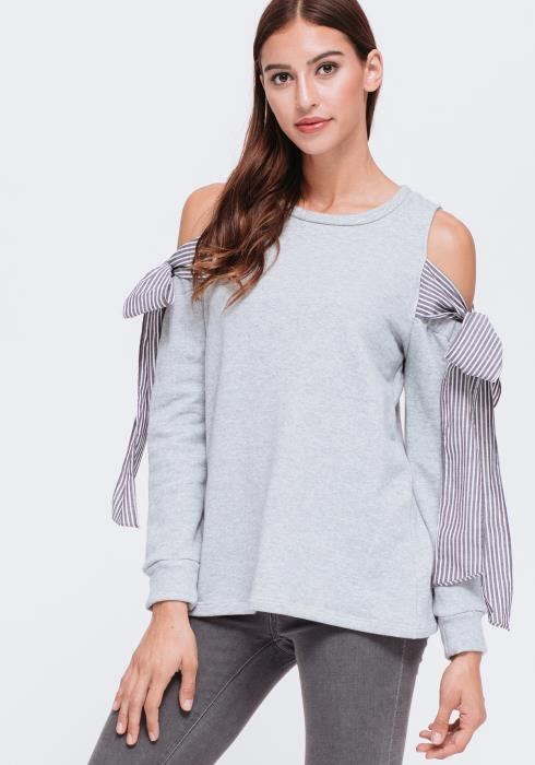 Tied Cold Shoulder Sweatshirt