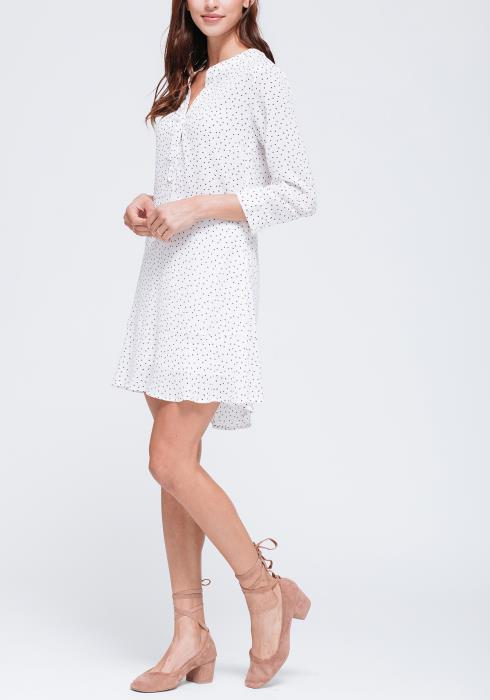 Swiss Dot Split Neck Dress