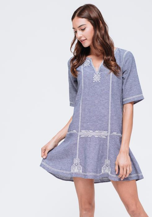 Delicate Embroiled Peasant Dress