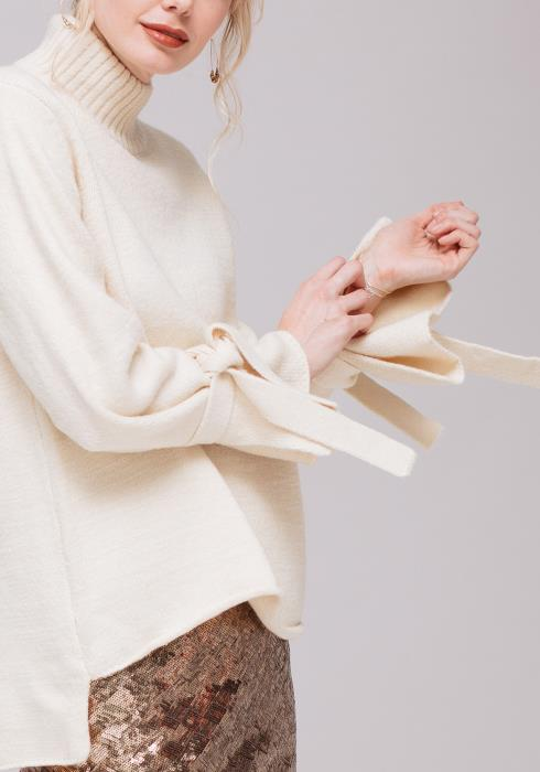 Tied Cuff Turtle Neck Sweater