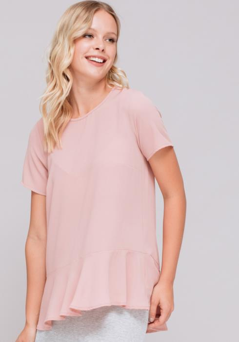 Short Sleeve Ruffle Drop Hem Top