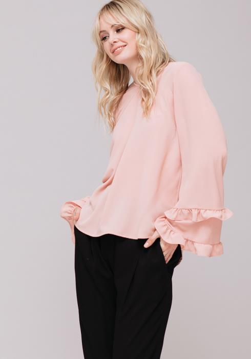 Double Ruffle Bell Sleeve Blouse