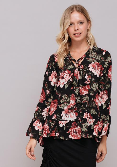 Bow Front Floral Long Sleeve Blouse