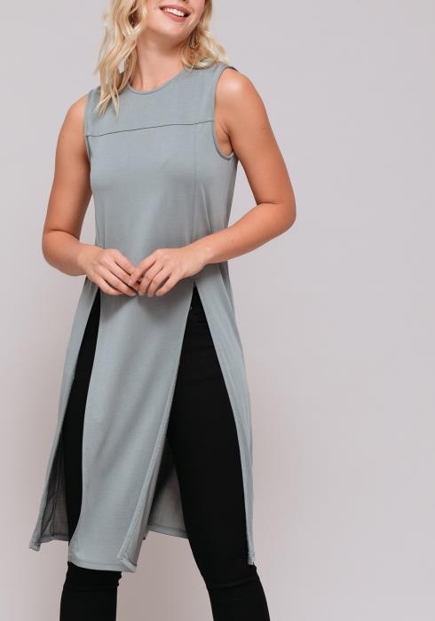 Sleeveless Slit Tunic Top