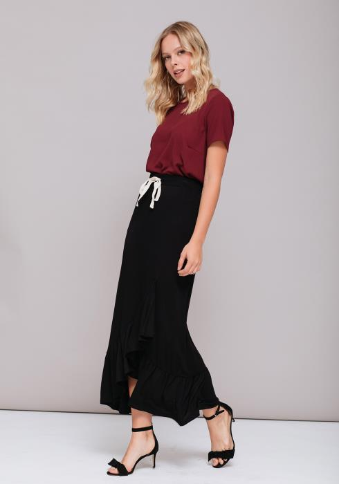 Layered Ruffle Hem Tie Skirt