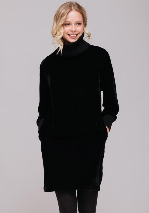Long Sleeve Velvet High Neck Dress