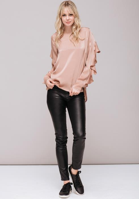 Long Sleeve Silk Top with Ruffles