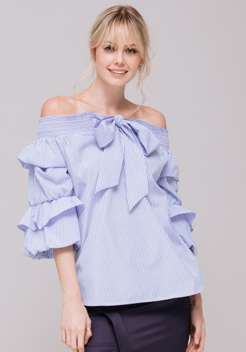 Off Sleeve Ruched Sleeves Bow Front Top