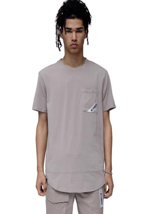 Konus T-Shirt with Curved hem in Jersey with Pocket