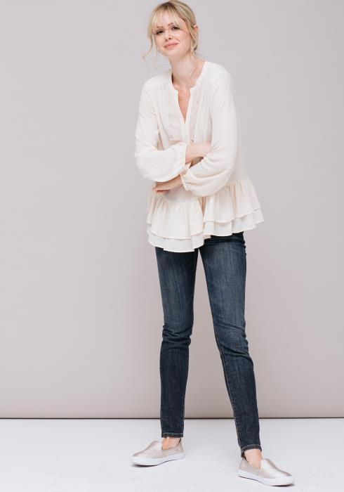 Lacey Long Sleeve Peasant Top