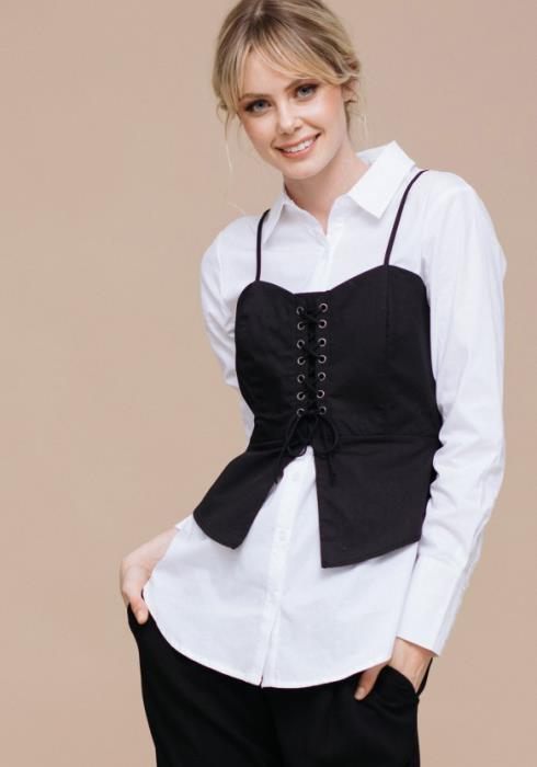 Monotone Corset Button Up