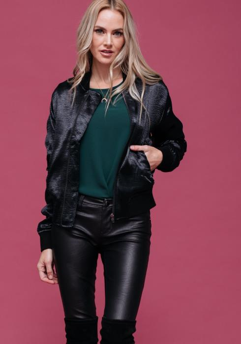 Satin Zippered Bomber Jacket