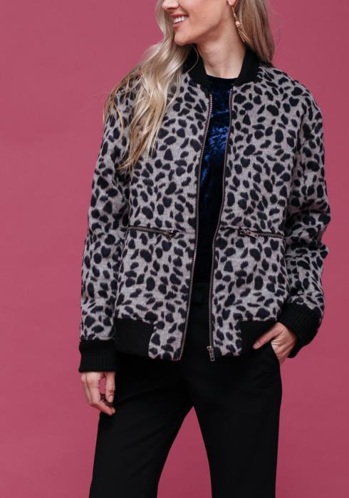 Wild Print Zip Up Bomber Jacket