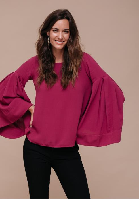 Bell Sleeve Drop Shoulder Blouse