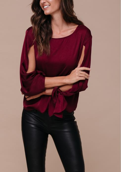 Satin Bow Sleeve Scoopy Neck Blouse