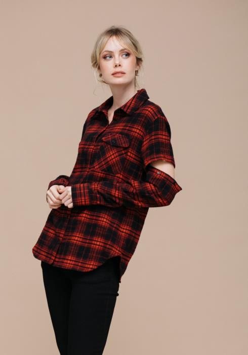 Removable Sleeve Plaid Button Up