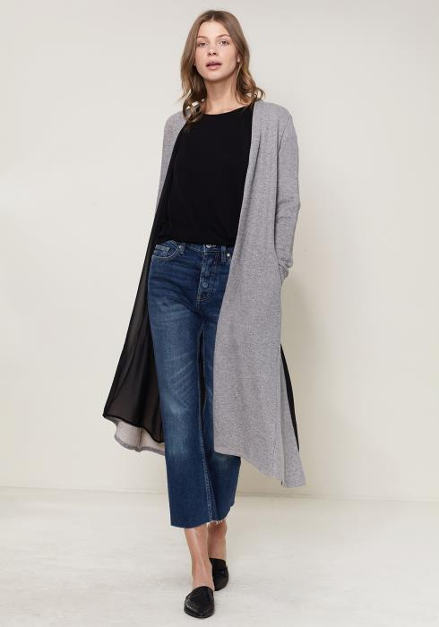 Ro&De Noir Slit Back Long Cardigan