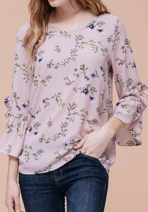 Ruffle Sleeve Floral Print Tee