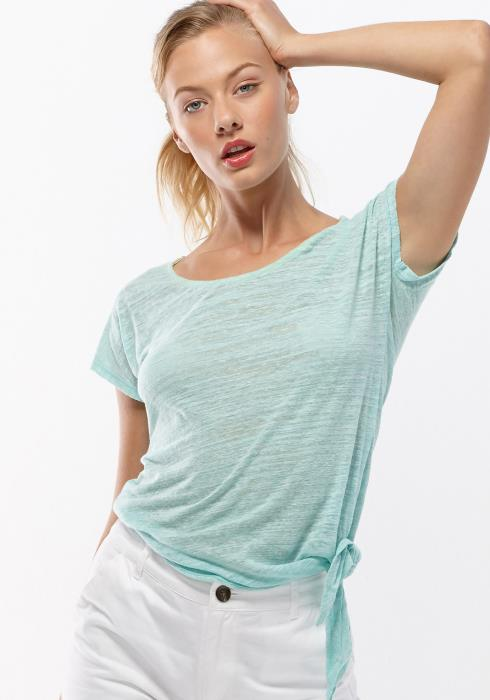 Scoop Neck Tie Hem Short Sleeve Tee