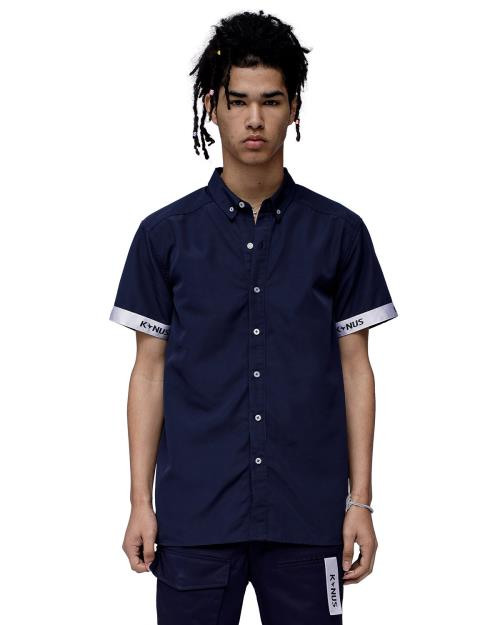Konus Short Sleeve Button Down Shirt with Tape on Hem