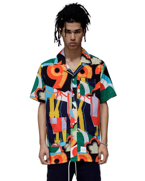Konus Revere Collar Shirt with Multi Color Print