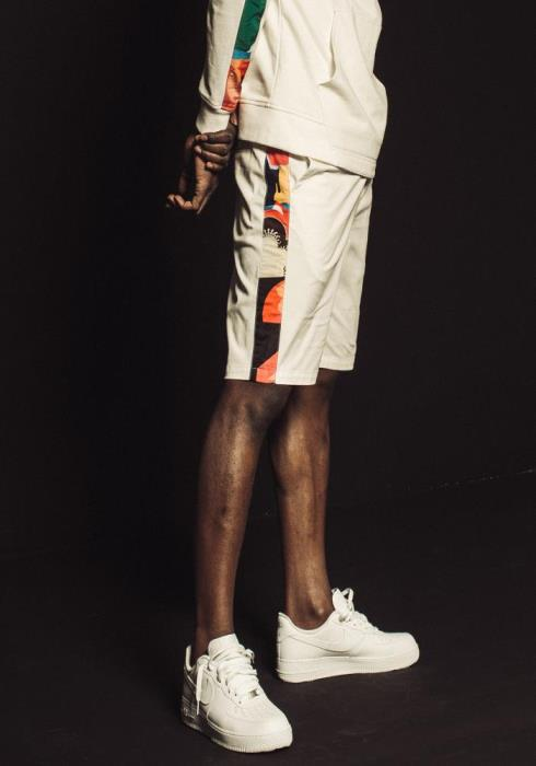 Konus Drawstring Twill Shorts with Contrast Printed Fabric on Side Seam