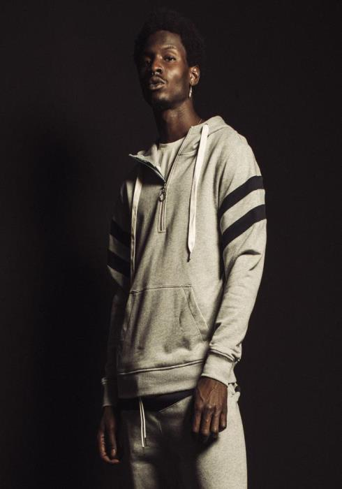 Konus Half Zip Pullover Hoodie with Contrast Color Stripes