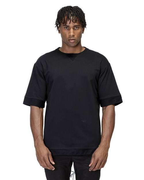 Konus Short Sleeve Crewneck Tee with Contrast Color Blocking on Back