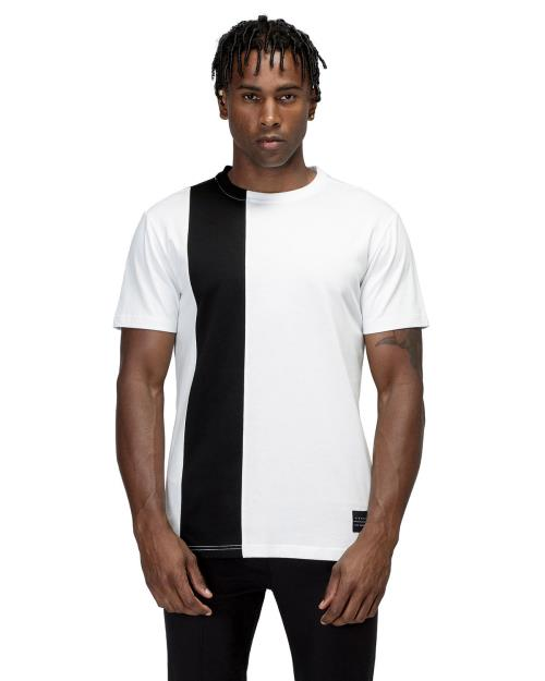 Konus Crewneck Tee with Stripe Paneling Detail