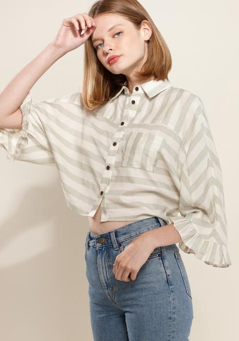 Nurode Ruffle Cuff Button Down Cropped Shirt