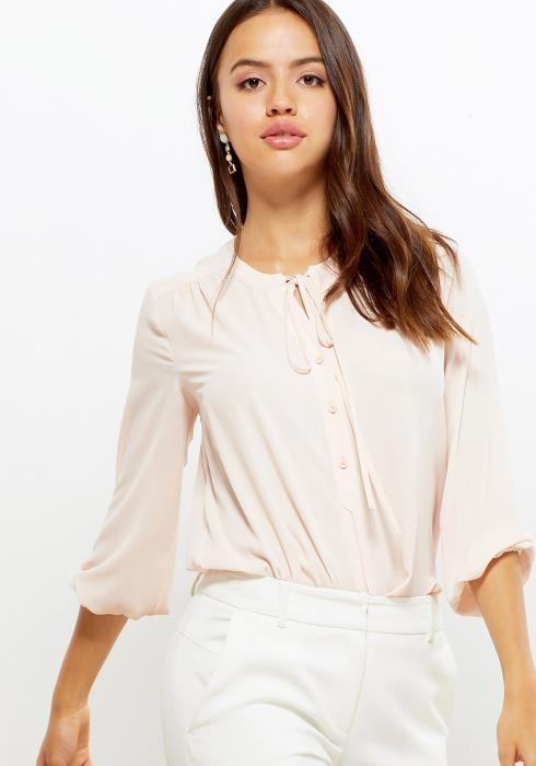 Pleione Tie Neck Button Front Blouse