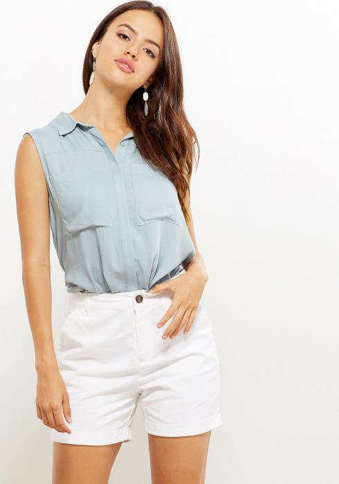 Button Down Sleeveless Blouse