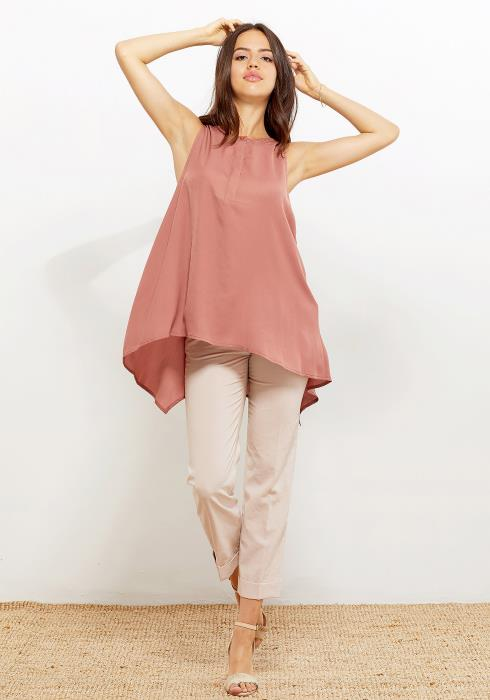 Pleione Hi-Lo Flared Tunic Women Clothing Blouse