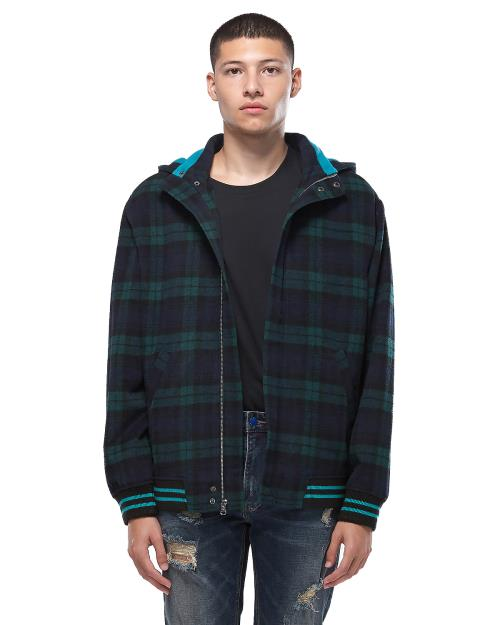 Konus Hooded Wool Jacket in Green