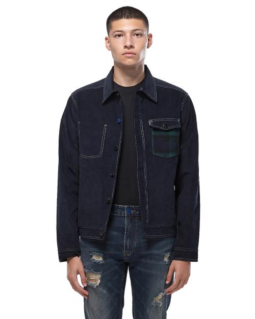 Konus Corduroy Wool Trucker Jacket in Navy