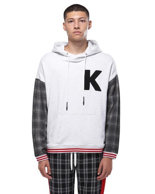 "Konus Chenille ""K"" Logo Oversized Hoodie with Plaid Sleeves"