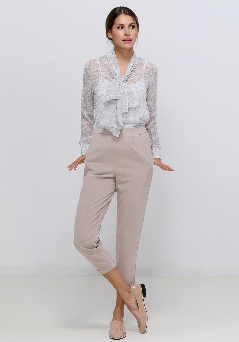 Ro&De Noir Tie Neck Sheer Blouse Women Clothing