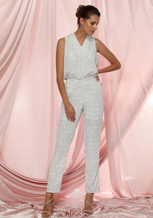 Ro&De Noir Sleeveless V-Neck Printed Jumpsuit Women Clothing