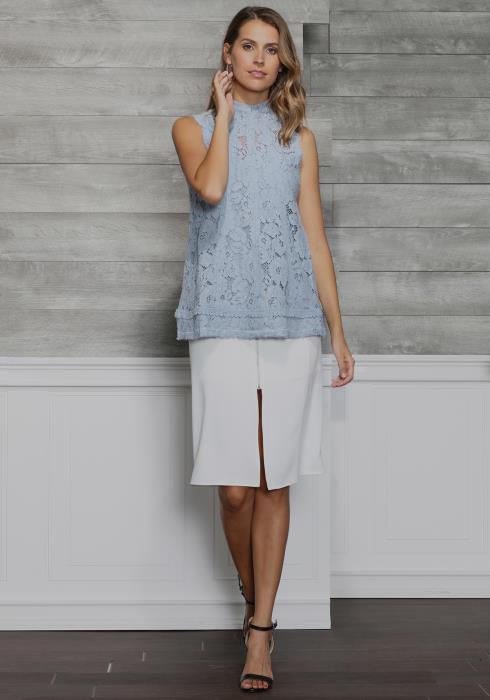 Ro&De Noir Mock Neck Floral Lace Top Women Clothing