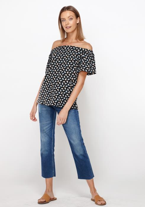 Ro&De Noir Off Shoulder Top Women Clothing