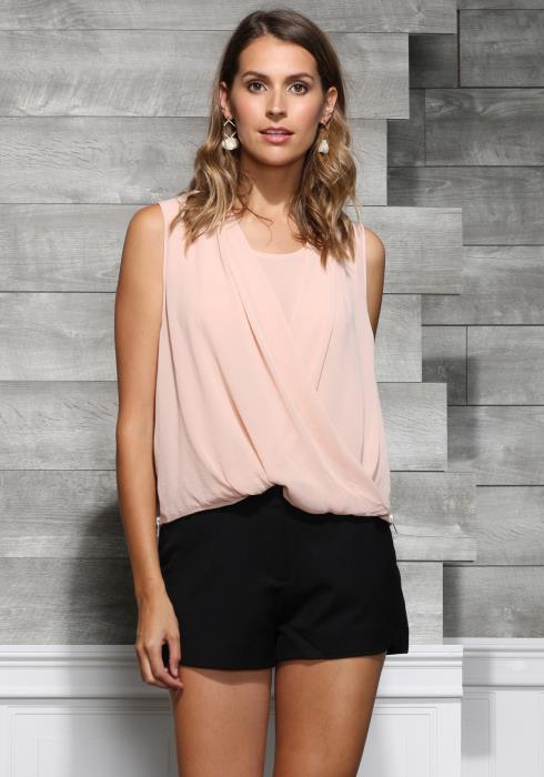 Ro&De Noir Surplice Sleeveless Blouse Women Clothing