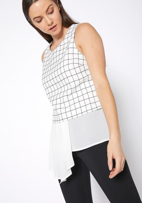 Ro&De Noir Grid Print Sleeveless Top Women Clothing
