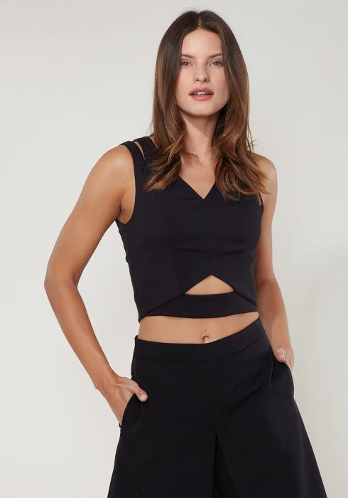 Ro&De Noir V-Neck Sleeveless Cropped Top Women Clothing