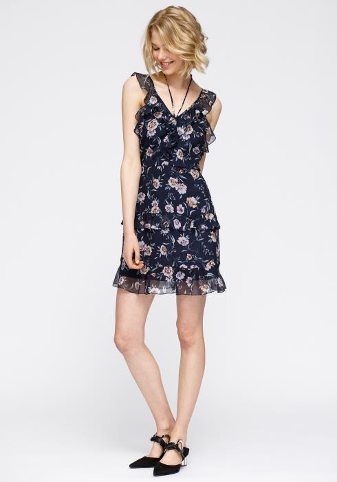 Wax Flower Mini Ruffled Sleeveless Dress