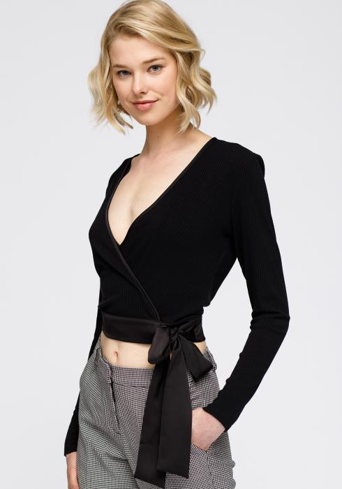 Wrap Front Satin tie Ribbed Crop Knit Top