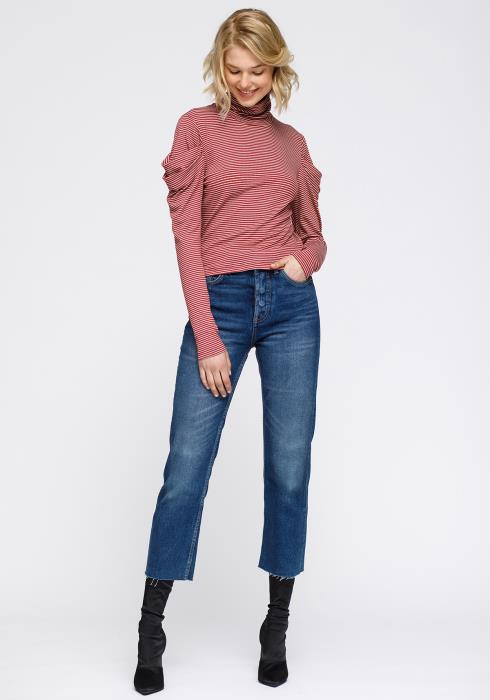 Turtle Neck Puff Sleeve Stripe Knit Top