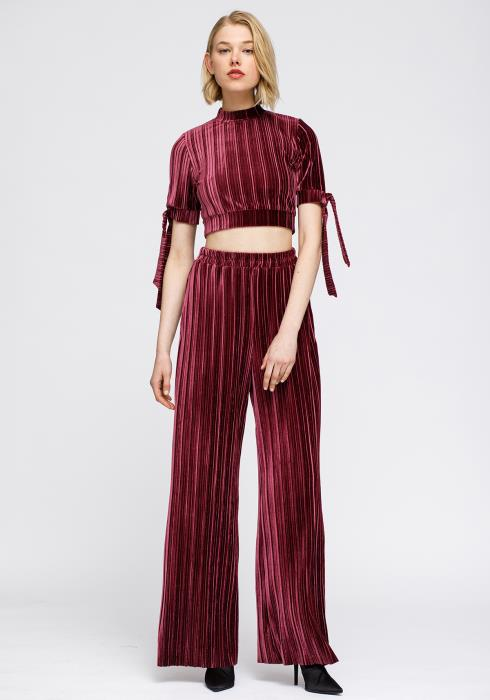 Velvet Mock Neck Tie Sleeve Crop Top